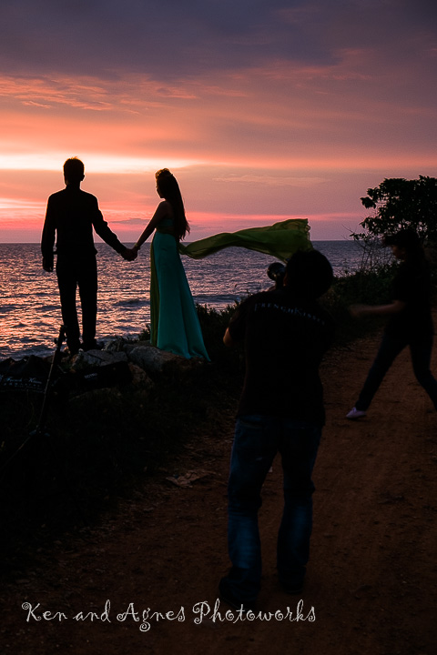 Couple Posing For Their Wedding Photo Shoot at Redang Beach