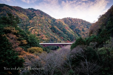 The Beautiful Arashiyama Mountains Under The Evening Sky (Mid Ground Structure Is the JR Hozukyo Station Platform)