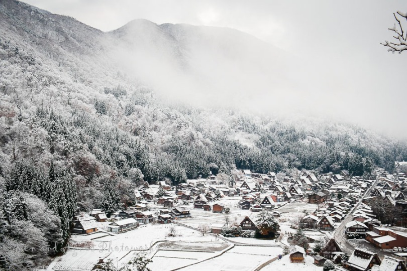 Snow Blanketed and Misty Ogimachi At Day Break