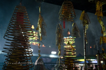 Some devotees also choose to augment their prayers and wishes to the gods with incense coils (for longer burn duration) tagged with devotee's name/family and an appropriate traditional Chinese wish (message). Common wishes are for peace, health, longevity and prosperity. These incense coils are hung in a dedicated area and left to burn completely.