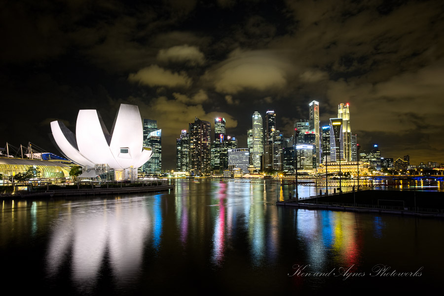 The ArtScience Museum And Marina Bay Financial District Skyline